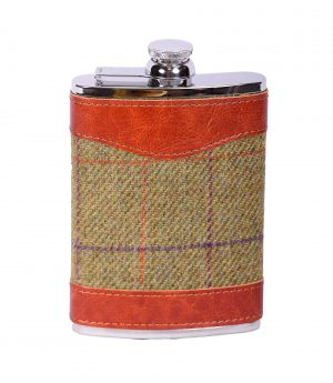 Bonart 8oz Tweed hip flask